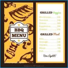 Menu Template Hand Drawn Vector Bbq Steakhouse Restaurant