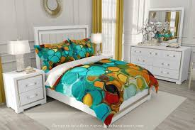 teal orange duvet cover abstract