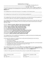 wedding planner contract wedding planner contract template