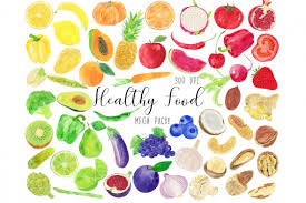 healthy food clipart. Modren Healthy Watercolor Healthy Food Clipart Vegetables Clipart Example Image 1 Throughout C