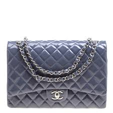 chanel grey quilted patent leather maxi classic double flap bag nextprev prevnext