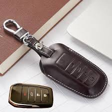 leather key fob cover case for 2016 toyota kijang innova fortuner sw4 2017 accessories camry corolla cruiser prado key holder chain bag car key company car