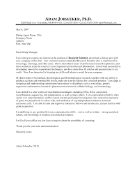 Cover Letter Research Scientist Resume Cover Letter