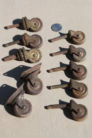 antique furniture casters w steel wheels assorted rusty old