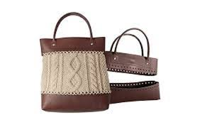 knitter s pride faux leather sew on bag kit brown handles bottom