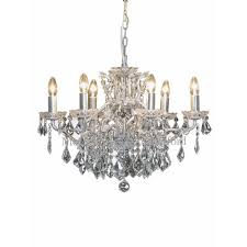 6 branch crystal chandelier silver