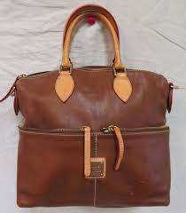 dooney bourke brown leather satchel dome purse