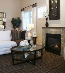 view in gallery dark hues of this living room offer a contrast to the glass front fireplace