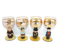 vintage unusual german set of 4 gilded wine glasses with figurine stems