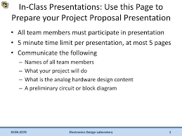 Project Proposal Presentation Ppt In Class Presentations Use This Page To Prepare Your