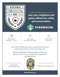 Coffee With A Cop Flyer National Coffee With A Cop Day City Of Round Rock