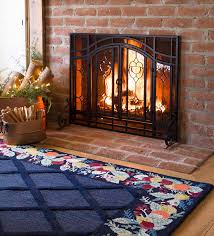 small two door fireplace screen with glass fl panels