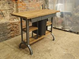 Industrial Reclaimed Wood Rolling Kitchen Island Cart Pop Up Outlet