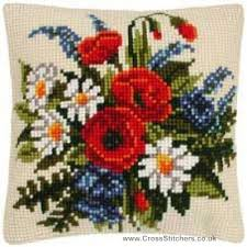 Vervaco Cross Stitch Charts Spring Flowers Cushion Front Cross Stitch Kit By Vervaco