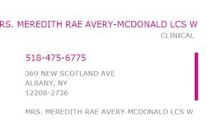 1851791016 NPI Number | MEREDITH RAE AVERY-MCDONALD LCS W | ALBANY, NY |  NPI Registry | Medical Coding Library | www.HIPAASpace.com © 2021