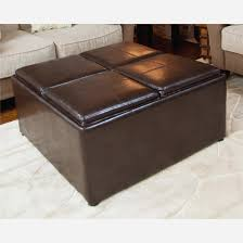 avalon coffee table storage ottoman with 4 serving trays elegant brown a