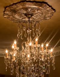 stunning crystal chandelier with large ceiling medallion