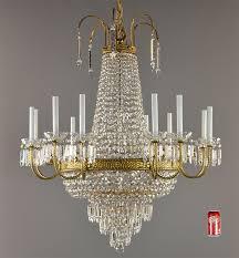 empire bronze crystal chandelier c1950 vintage antique ceiling light ballroom
