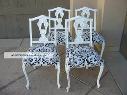 set of four vine french provincial black and white damask dining room chairs post 1950