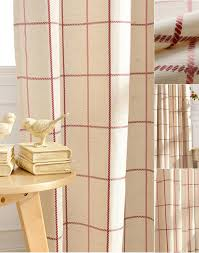 refreshing red beige linen cotton plaid curtains