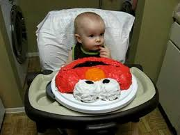Max Eating Elmo Birthday Cake 1st Birthday Youtube