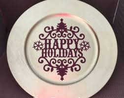 charger plates decorative: happy holidays charger plate christmas decor christmas plate decorative plate housewarming gift christmas decoration