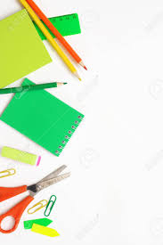 Colorful Stationery Set As Border On White Background Top View
