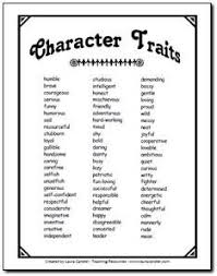character trait list to use when analyzing characters in  character trait list to use when analyzing characters in literature circle discussions