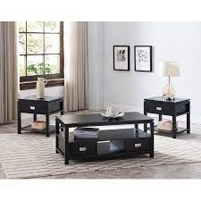 Each table has a slatted shelf beneath its plank grooved top, giving you places to display collectibles and store items. Adelaide 3 Piece Storage Coffee Table Set Black Wood Contemporary Walmart Com Coffee Table Coffee Table With Storage Coffee Table Setting