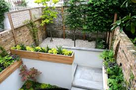 Lawn & Garden:Outstanding Small Gardens Design Ideas With High Brick Wall  And Neat Wooden