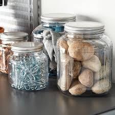 vintage clear glass cookie jar