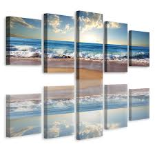 retail price 119 00 on 3 panel wall art beach with beach ocean seascape 5 panel framed canvas print wall art