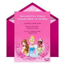 Free Online Birthday Invitations To Email Disney Princess Party Online Invitation Disney Family