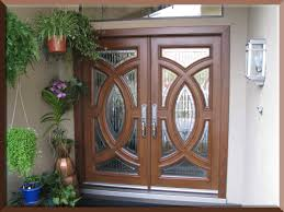 custom size exterior double fiberglass doors with oak wooden door and hanging potted herb plants ideas custom size exterior doors o26