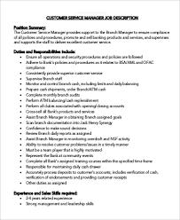 Sample Customer Service Manager Job Description 9 Examples In Pdf