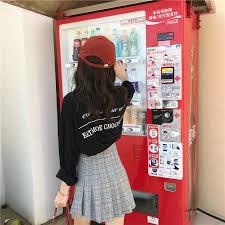 Vending Machine Skirt Unique Stylish Hundredlap Skirt High Waist Hundredfoldlined Plaid Skirt