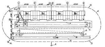 Типовая технологическая карта Типовая  1 башенный кран КБ 405 1А 2 подкрановый путь 3 ограждение подкранового пути 4 контур заземления 5 контрольный груз 6 граница зоны работы