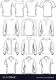 Clothes Template Collection Of Men Clothes Outline Templates Vector Image