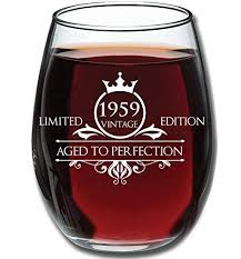 1959 birthday gifts for women and men wine glass funny vintage anniversary gift ideas for mom dad husband or wife 15 oz glasses for red or white wine