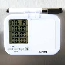 taylor kitchen timer digital 4 channel with white board and dry erase pen 5849 quad whiteboard
