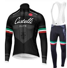 2019 Castelli Cycling Jersey And White Long Bib Pants Set 1