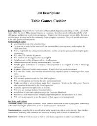 Cashier Job Description Resume Duties And Responsibilities Table