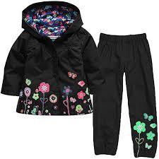 Cadong Girls Raincoat Suit Waterproof Hooded Coat Outwear Jacket Trousers Suit
