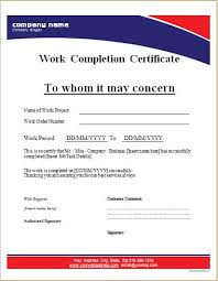 Work Completion Certificate Templates 8 Free Printable