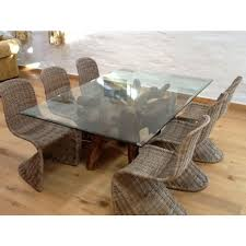 1 8m rectangular teak root dining table with 6 stackable zorro chairs