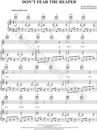 don t fear the reaper sheet music