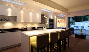 cool lighting design. Kitchen:Open Space Kitchen Design Ideas Simple Island Cool Lighting Led White Cabinet Faucet