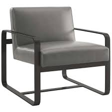astute gray faux leather armchair