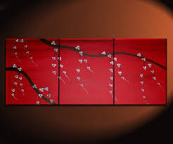 red japanese cherry blossom painting simple strong art custom original bold triptych on stretched canvas 48 20