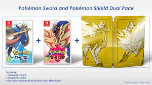 Pokémon Sword and Shield Dual Pack SteelBook Edition includes two codes for  Dynamax Crystals to face Dynamax Larvitar and Dynamax Jangmo-o in the wild